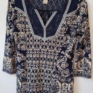 Lucky Brand Boho split neck blouse